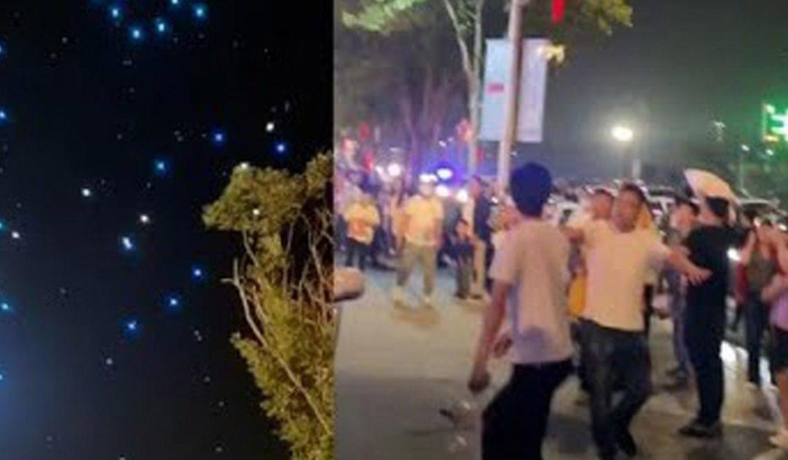 В Китае во время светового шоу на зрителей посыпались дроны